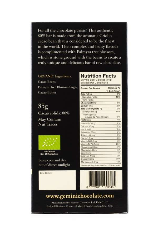 Just Chocolate - Nutritional Info